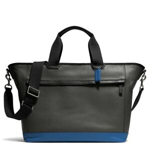 Coach Charcoal/Blue Camden Leather Weekend Travel Tote Crossbody Bag F70925 $598