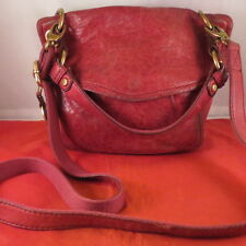 """FOSSIL """"Long Live Vintage"""" distressed red leather messenger cross body organizer"""