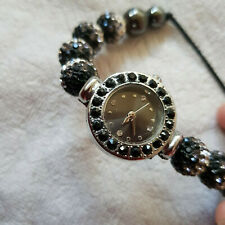 """Damenuhr """"Glitzer Uhr"""", schwarz."""