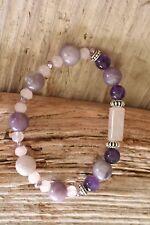Amethyst Lepidolite Bracelet Rose Quartz Natural Stones Stretch Manifest Love