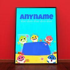 PINK FONG BABY SHARK Personalised Poster A4 Print Wall Art Banner Any Name