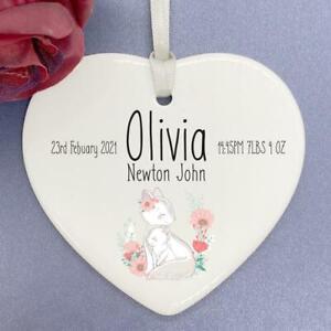 Personalised New Baby Keepsake Gift porcelain heart With Ribbon Woodland HR-23