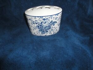 TOMMY HILFIGER BLUE VICTORIAN FLORAL (1PC) TOOTHBRUSH HOLDER  3.5 X 5 X 1.75