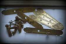 Antique French Set for 3 Doors Knob BackPlate Finger Plate Castle Chateau