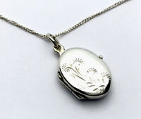 Vintage Small Sterling Silver Engraved Double Picture Photo Locket - Gift Boxed
