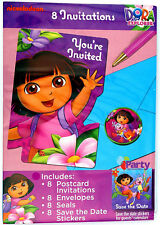 Dora 8 Party Invitations Envelopes Save The Date Sticker Birthday Party Supplies