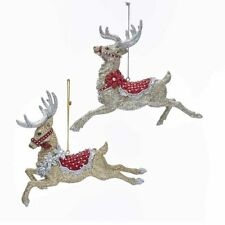 Ruby & Platinum Flying Reindeer Ornaments