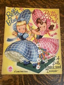 """Betty Blue and Patty Pink, A """"Look-Thru"""" Book - Wrap-A-round Dresses - 1949"""
