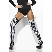 LADIES BLACK RED WHITE STRIPED OTK STOCKING THIGH HOLD UP CANDY WITCH PUMPKIN
