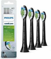 4 xGenuine W2 Philips Sonicare DiamondClean HX6064/65 Toothbrush Heads-NEW Black