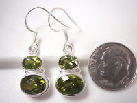 Faceted Peridot 2-Gem 925 Sterling Silver Dangle Earrings Corona Sun Jewelry