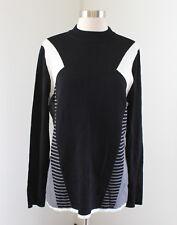 NWT Lane Bryant Black Gray White Color Block Mock Neck Knit Sweater Size 14 16