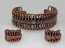 Vintage 1950s RENOIR Double Coil Copper Cuff Bracelet & Ear Clips Set Modernist!