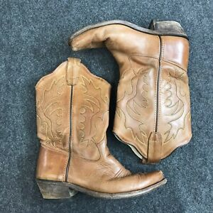 Old West Cowgirl Cowboy Boots Kids Size US 4.5 Brown Cream Q14-28