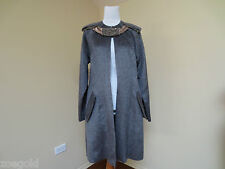 HAUTE BRAND GRAY GREY LLAMA WOOL BLEND COAT WITH SEQUIN & BEAD NECK DETAIL 42