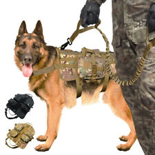 K9 Dogs Training Harness and Leash  Soft Mesh MOLLE Working Vest Handle Control