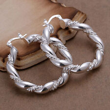 Silver Plated Large Chunky Twisted Hoop Earrings.Womens 925 Sterling.40mm by 36m