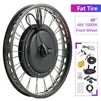 "48V 1000W 20"" Fat Tire Front Wheel Electric Bicycle E-bike Kit Conversion Motor"