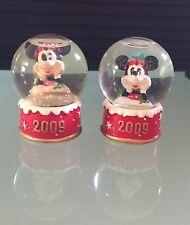 "Christmas Disney 2 Mini Glass Snow Globes 2009 Size: 2"" x 1.5"" ~ Free Shipping"
