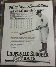 rare 1928 HARRY HEILMANN Detroit Tigers LOUISVILLE SLUGGER H&B BASEBALL BAT SIGN