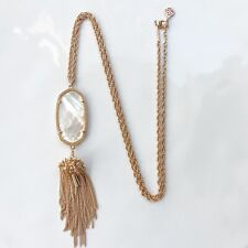 Kendra Scott Rayne Long Pendant Necklace Rose Gold Ivory Mother of Pearl 30""