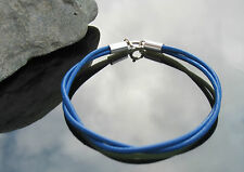 Double Strap Royal Blue Leather Cord Bracelet with 925 Sterling Silver Clasp