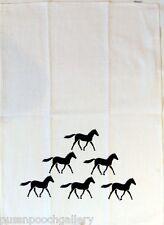 "Australian Made  ""Running Horses"" on a Linen/Cotton Blend White Tea Towel"