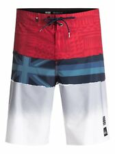 Quiksilver Men's 36 Blocked Hawaii Flag Board Shorts Red Gray Blue NWT Stretch