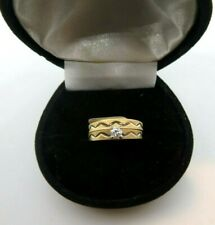 14K Yellow Gold Diamond Engagement Ring Wedding Band Ring Set Size 6
