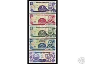 NICARAGUA 1 5 10 25 P167 168 169 170 Lot 400 Pcs 100 Sets 1991 BUNDLE UNC FLOWER