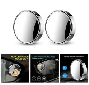 2 pcs Blind Spot Mirror 360°Wide Angle Convex Rear Side View Car Auto SILVER