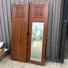 """pair vintage built in cabinet doors Eastlake c1880 grain paint 70.75/21.5"""" ea"""