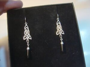 VINTAGE SOLID SILVER DANGLY CELTIC & ONYX EARINGS-STUNNING QUALITY 5CM HAND MADE