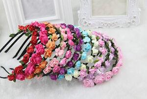 Women Girl Bride Boho Flower Headband Festival Wedding Floral Garland Head band