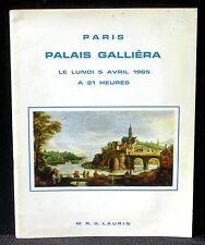Catalogue Laurin Palais Galliéra 5/4/65 Tableaux anciens et modernes, meubles...