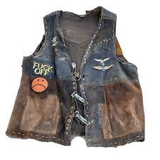 Vintage Outlaw Biker Leather Vest Harley Patch Battle Jacket