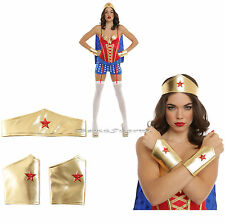 WONDER WOMAN ADULT Gold Crown Headpiece Tiara w/star & Arm Gauntlets Cuffs NWT