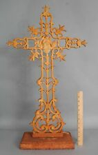 Large Antique French Cast Iron Architectural Garden Christian Cross, NR
