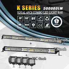 "42 Inch LED Light Bar Combo + 22in +4"" CREE PODS OFFROAD SUV 4WD FORD JEEP 20/30"