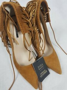 Bnwt Zara Basic Real Suede Leather Tan Heels Shoes Fringing Size 3
