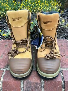 NEW BLUNDSTONE 992 Wheat Side Zip Lace Up Safety Steel Toe Work Boot SIZE 8.5