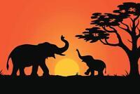 Elephant Family Sunset Photo Art Print Poster 24x36 inch