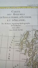 Alt- u. Grenzkol. Kupferstichkarte von England, Schottland, Irland von R. Bonne