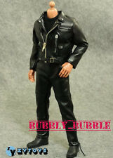 "1/6 T800 Arnold Black Leather Jacket Set For 12"" Hot Toys Figure ☆SHIP FROM USA☆"