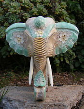 "African Elephant Wood Mask Carving Safari Jungle Home Decor 13"" x 12"""