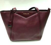 Michael Kors MK Oxblood Burgundy Pebbled Leather Whitney Tote Shoulder Bag Purse