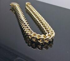 "Men's 10K Yellow Gold Franco Bracelet 7mm A22B4 9"", Rope, Link, Cuben, Byzantine"