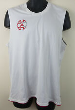 Mens Adidas Fitted Vest Shirt Tank Top Football Soccer White Skins Large L