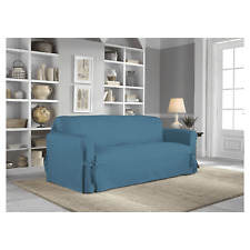 Serta Relaxed Fit Cotton Duck Sofa Slipcover- Blue