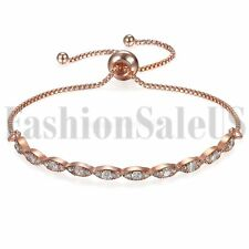 Women's Ladies Marquise CZ Paved Freely Adjustable Chain Bracelet for Graduation